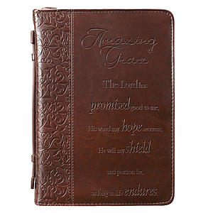 """""""Amazing Grace"""" (Brown) LuxLeather Bible Cover, Large"""