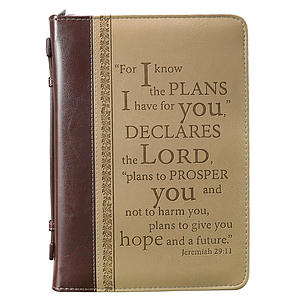 """""""I Know the Plans"""" (Tan) Two-tone Bible Cover- Medium"""