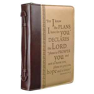 """""""I Know the Plans"""" Two-Tone Large Bible Cover- Large"""