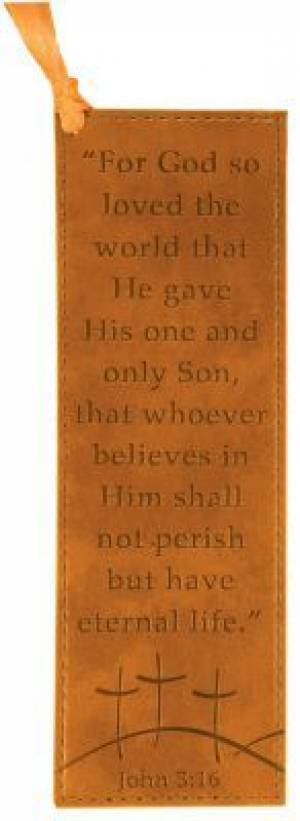 John 3:16 - Faux Leather Bookmark