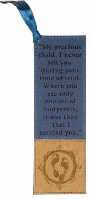 Footprints - Faux Leather Bookmark
