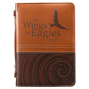 Bible Cover Medium Imitation Leather Brown - On Wings Like Eagles- Medium