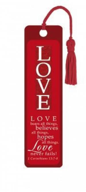 """""""1 Corinthians 13:7-8"""" Tassle Bookmark"""