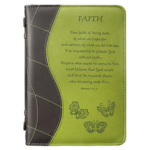 """Faith"" (Green) LuxLeather Bible Cover- Medium"