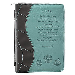 """Hope"" (Turquoise) LuxLeather Bible Cover- Medium"