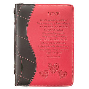Bible Cover Medium Imitation Leather Pink 'Love'- Medium