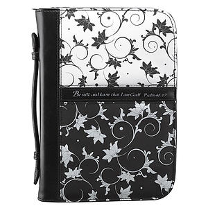 Psa. 46:10 (Black & White) Micro-Fiber Bible Cover, Large