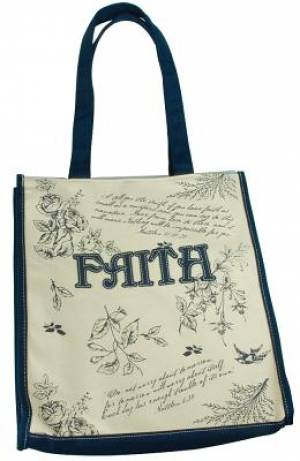 "Navy Blue Floral Canvas Tote Bag - ""Faith"" Applique"