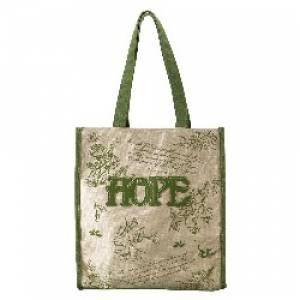 Green Floral Canvas Tote Bag -
