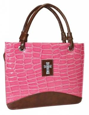 Cross (Pink) Croc-Embossed, Purse Style Bible Cover, Large