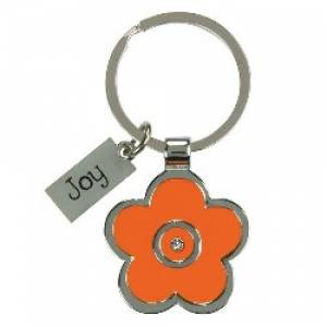 Joy - Orange Enamel Keyring