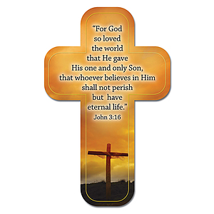 """John 3:16"" Paper Cross Bookmark Pack of 12"