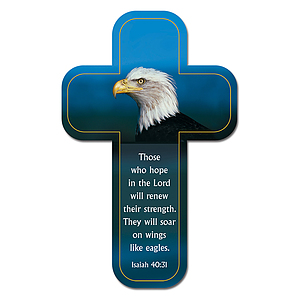 """Wings Like Eagles"" (Blue) Paper Cross Bookmark Pack of 12"