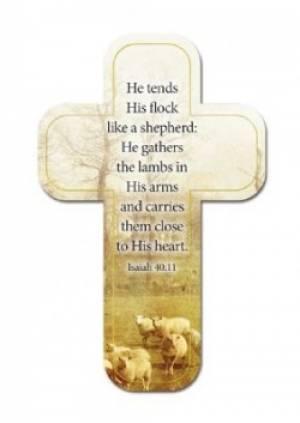"""""""Shepherd"""" (Tan) Paper Cross Bookmark Pack of 12"""