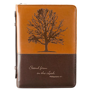 """Stand firm in the Lord"" (Brown) Two-tone LuxLeather Bible Cover, Large"