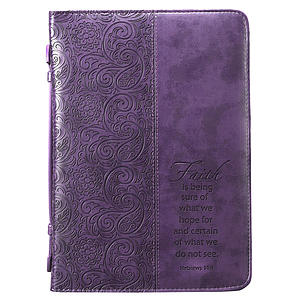 Faith Purple Imitation Leather Large Bible Cover