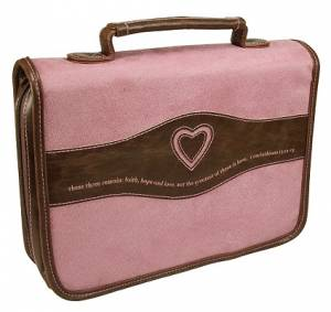 Heart/1 Cor. 13:13 (Pink) Suede-Look Bible Cover- Large