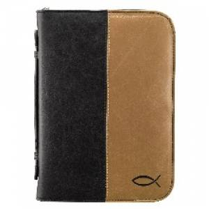 Fish (Tan/Black) Two Tone LuxLeather Bible Cover, Large