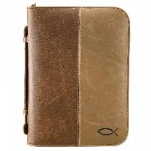Fish (Tan/Brown) Two Tone LuxLeather Bible Cover- Medium