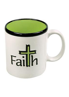 Faith Cross White/green Mug
