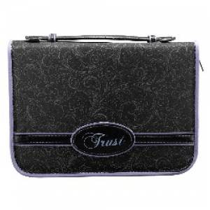 Trust (Black) Micro Fiber Bible Cover- large
