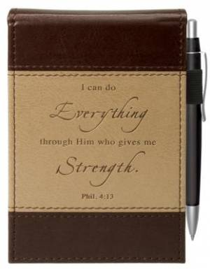 Two-tone Pocket Notepad w/Pen - Philippians 4:13