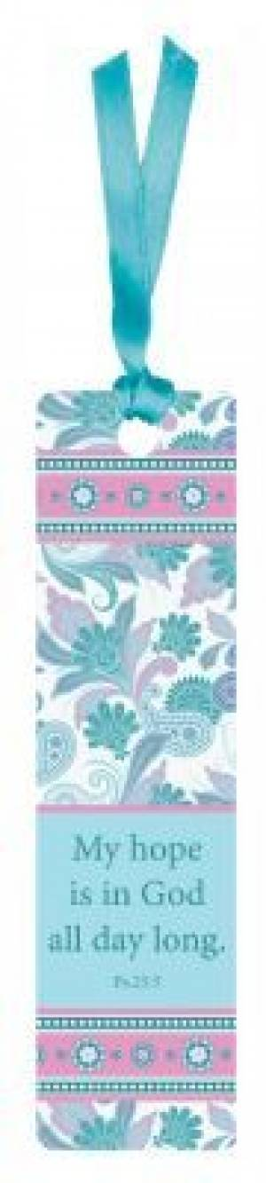 """Psalm 25:5"" (Teal) Sarah J Bookmarks w/ Ribbon"