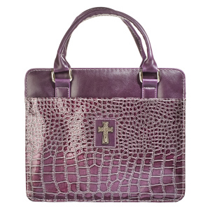 Cross (Purple) Metallic Croc Purse-Style Bible Cover, Large