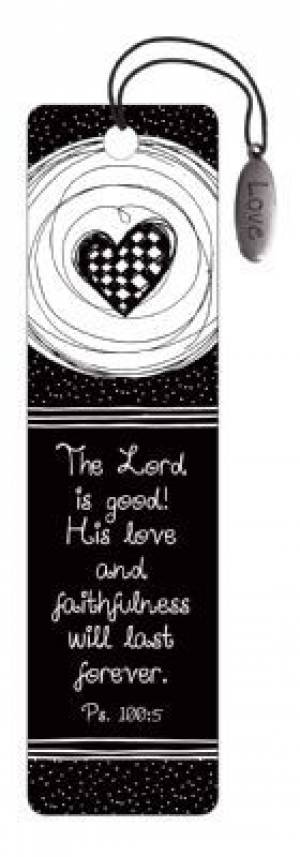 """Psalm 100:5"" (Black & White) Bookmarks w/ Charm"