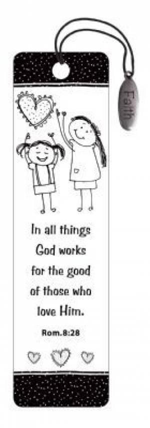 """Romans 8:28"" (Black & White) Bookmarks w/ Charm"