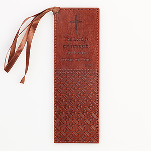 Ps 28:7 - Faux Leather Bookmark