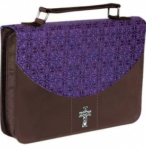 Cross (Purple/Brown) LuxLeather/Microfiber Bible Cover- Medium