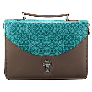 Cross (Turquoise/Brown) LuxLeather/Microfiber Bible Cover, Large