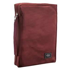 Fish Applique (Burgundy) Poly-Canvas Bible Cover, XSmall