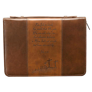 John 3:16 (Brown/Tan) Two-tone LuxLeather Bible Cover- Large