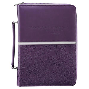 Jer. 29:11 (Purple/Floral) LuxLeather Bible Cover, Medium