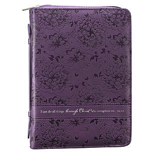 Phil. 4:13 (Purple/Floral) LuxLeather Bible Cover- Large