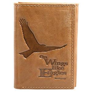 Saddle Tan Genuine Leather Tri-Fold Wallet - Isaiah 40:31