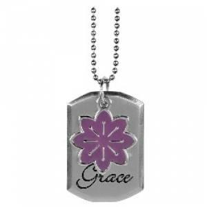 Purple Flower Charm Dog Tag - Eph 2:8