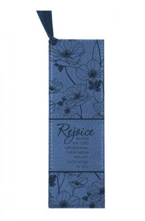 Rejoice Ps 100:2 - Faux Leather Bookmark