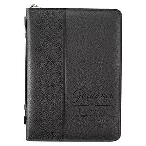 """Guidance"" (Black) LuxLeather Bible Cover- Large"