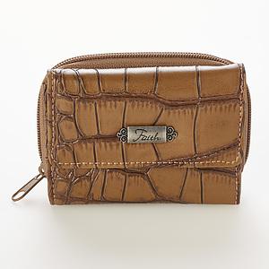 """Croc-Embossed Wallet w/""""Faith"""" Badge (Taupe)"""