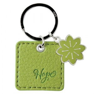 Green Faux Leather Keyring Hope Rom 15:13
