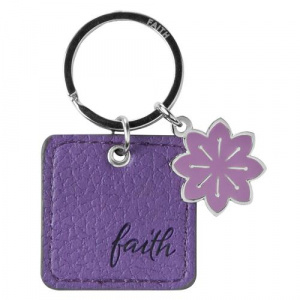 Purple Faux Leather Keyring Faith Mt 19:26