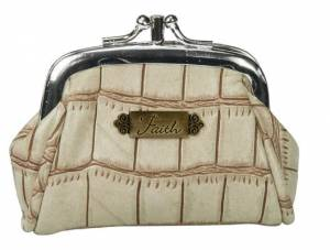 Croc-Embossed Coin Purse w/