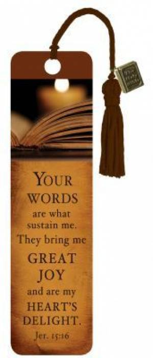 """Your Words"" (Brown) Bookmarks w/ Charm"
