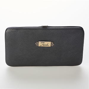 "Opera Wallet w/""Faith"" Badge (Black)"