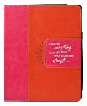 Pink & Orange Inspirational Tablet Case / Cover - Philippians 4:13