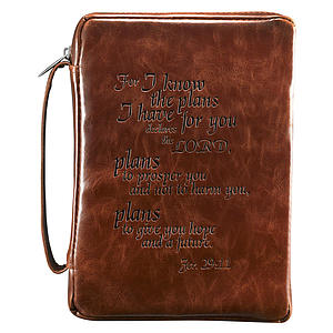 Jer. 29:11 (Burgundy) Vintage Leather-Look Bible Cover, Medium