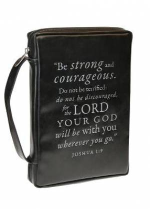 Josh 1:9 (Black) Leather-Look Bible Cover, Medium